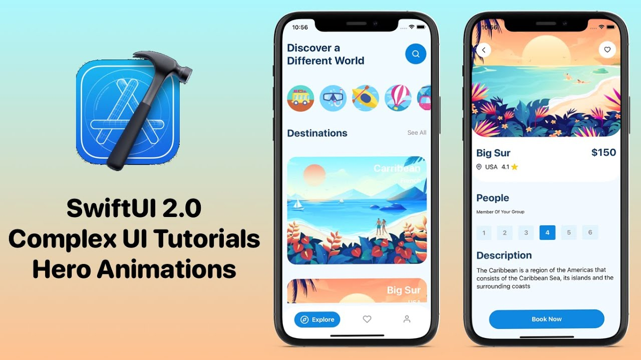 SwiftUI Travel App UI - SwiftUI 2.0 Complex UI Tutorials - Hero Animations