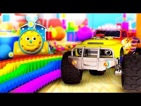 Мультик для малышей про машинки и паровозики! Учим цифры, фигуры и цвета!