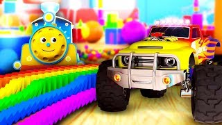 Мультик для малышей про машинки и паровозики Учим цифры фигуры и цвета