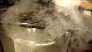Dry Ice with hot water.
