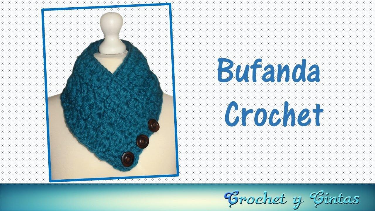 Bufanda cuello tejida a crochet (ganchillo) - YouTube