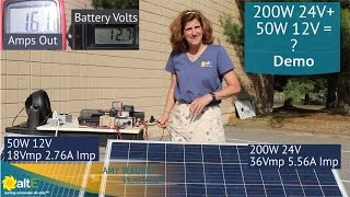 Mismatched Solar Panels - What happens? 200W 24V with a 50W 12V