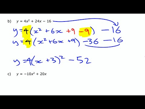 Quada12 Standard To Vertex Form Completing The Square Youtube