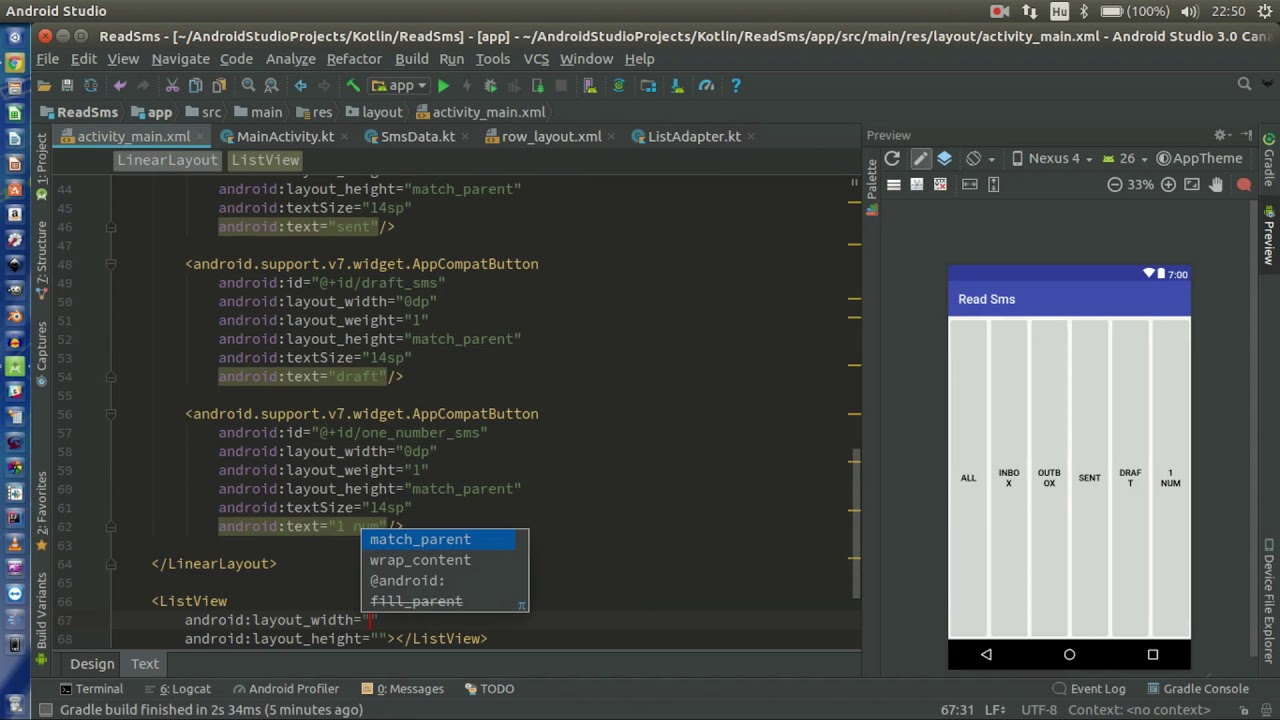Android Kotlin Usage Tutorial #092 - Read all, SMS