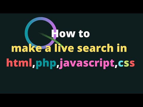 How To Create Live Search In My Own Page In Html, Php, Css2019