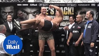Boxing heavyweight Tyson Fury weighs in for comeback fight