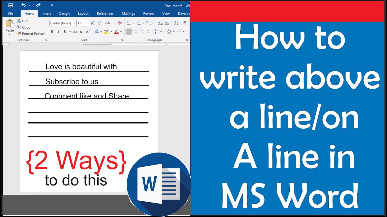 How to type on a line in Word - how to write above a line in MS