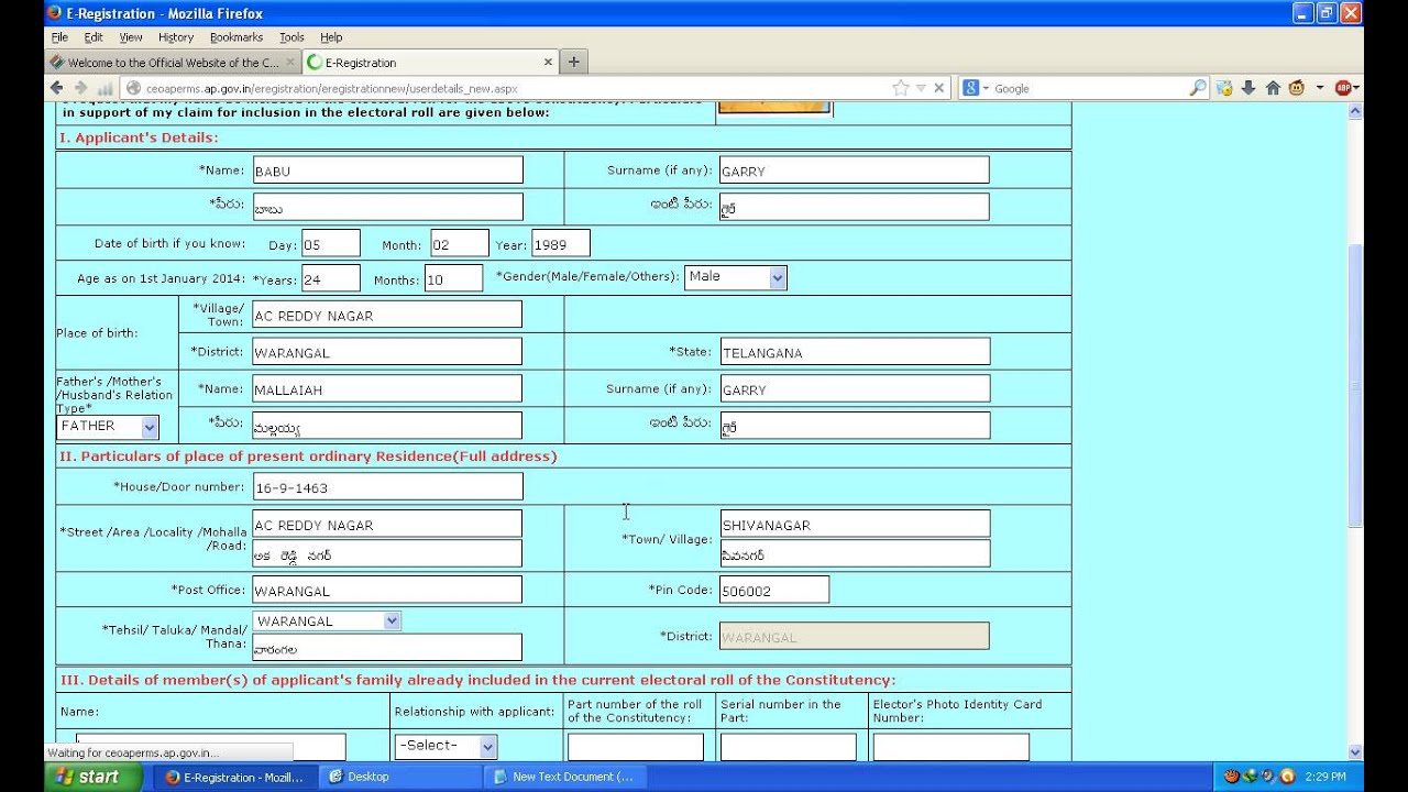 Online color voter id card gujarat - How To Register For Voter Id Card Throug Online Manapc