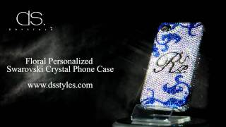 DSstyles Floral Personalized Swarovski Crystal iPhone 4/4S Case Thumbnail