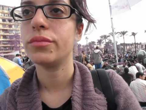 Inside Tahrir Square Cairo Feb. 3 2011 - Interview with pro-democracy activist
