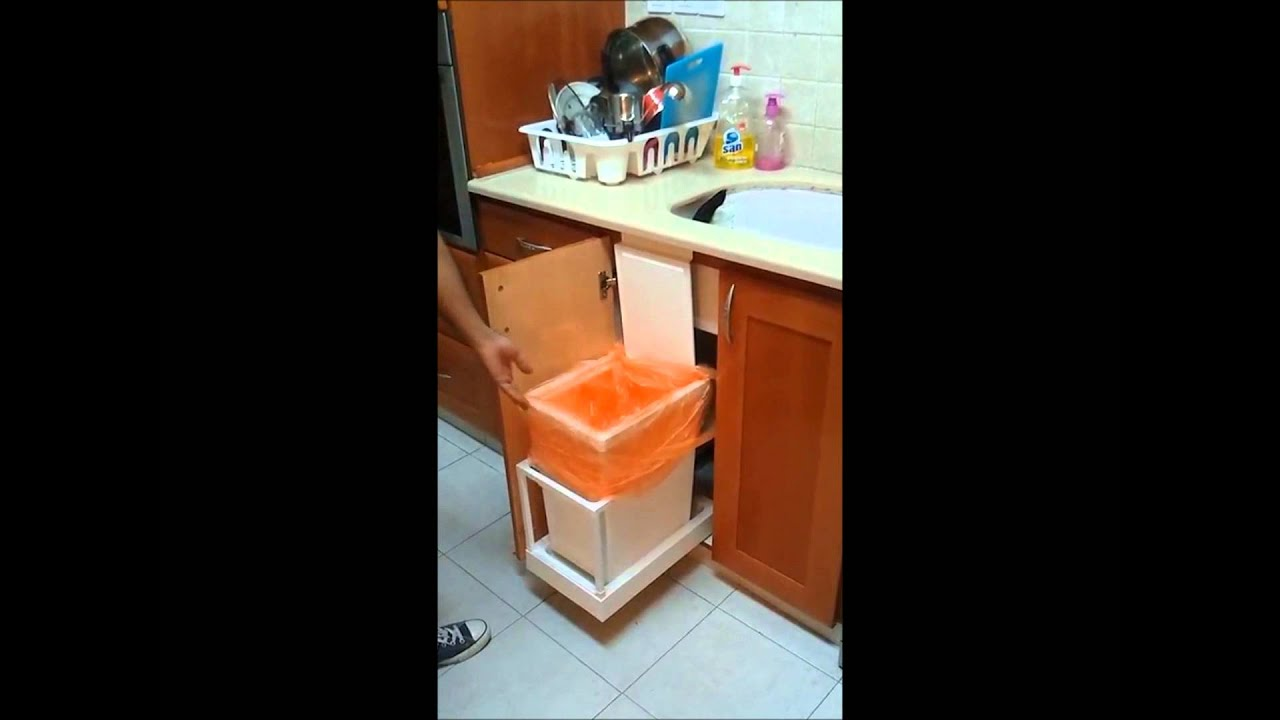 Automatic kitchen trash can ikea hack youtube - Ikea pull out trash bin ...