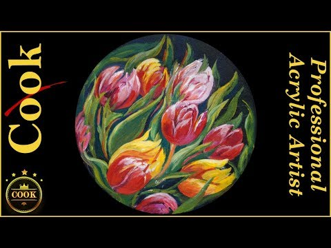 Valentine Tulips in the Round an Acrylic Painting Tutorial for Beginners
