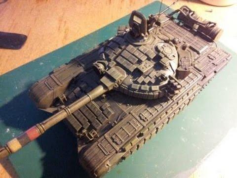 Сборка советского основного боевого танка Т-72Б - Звезда 3550.  Сухая кисть, триплекс...в общем, заканчиваем танк.