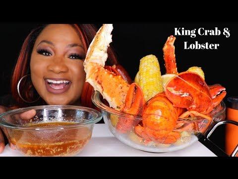 KING CRAB + LOBSTER TAIL  , SEAFOOD BOIL MUKBANG