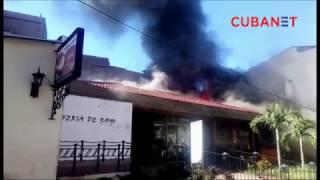 Incendio en tienda Feria de Rayo en el Barrio Chino de La Habana