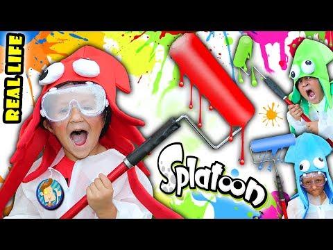 REAL LIFE SPLATOON CHALLENGE! 3 Minute Splat Roller Battle w  Paint Balloons FUNnel Vision Mess