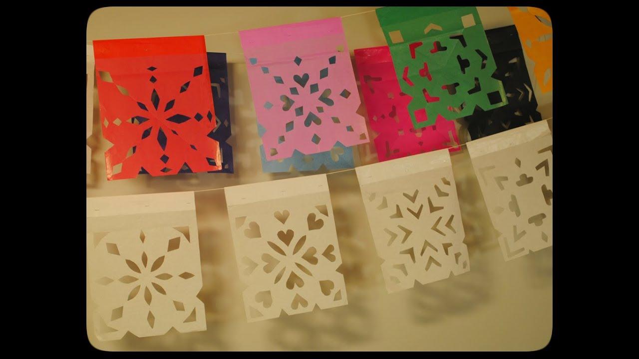 C mo hacer papel picado youtube - Como hacer cadenetas de papel para fiestas ...