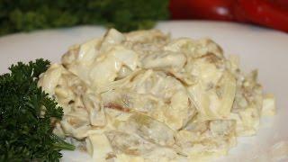 Салат из баклажанов и яиц,вкусный и нежный.