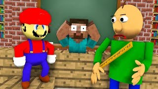 SUPER MARIO & BALDI'S BASICS vs Monster School - Minecraft Animation Challenge