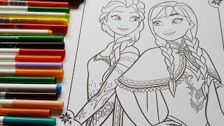 """frozen Queen Elsa & Anna""""s  coloring and crayola doodle scents markers"""