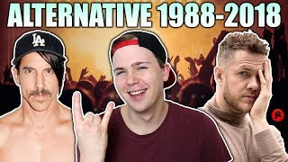 REACTING TO THE MOST POPULAR ALTERNATIVE SONGS (1988-2018)