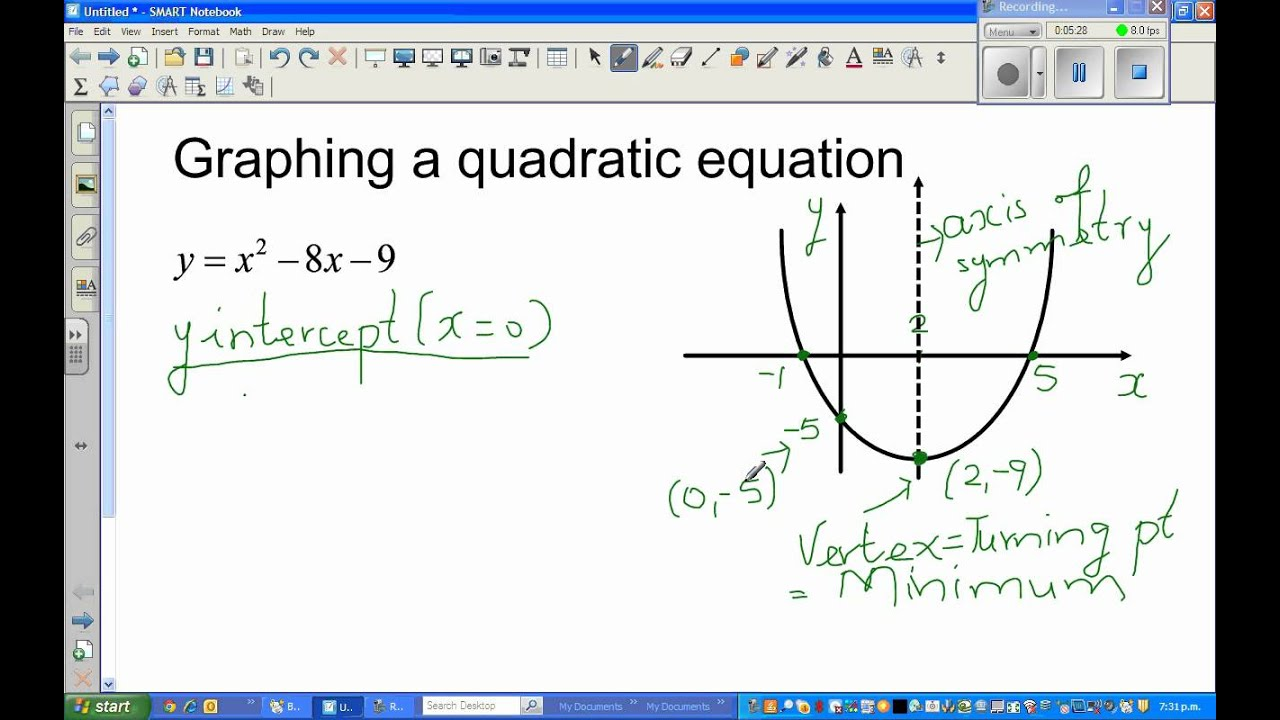 how to find x and y points for quadratic equations