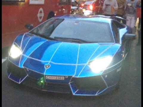 Blue Chrome Tron Lamborghini Aventador And Red Chrome Ferrari 458 In