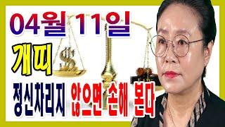 2020년 04월 11일 오늘의 운세 띠별 운세 개띠 정신차리지 않으면 손해 입을 수 있다 수미산당 구슬보살…