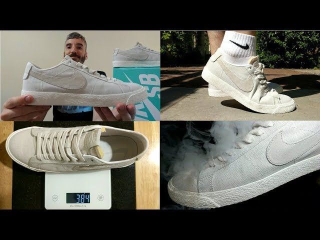 NIKE SB ZOOM AIR BLAZER LOW CANVAS DECON on feet 0bcea023843
