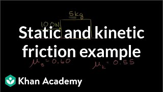 Static and kinetic fri¢tion example | Forces and Newton's laws of motion | Physics | Khan Academy