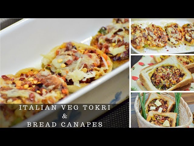 Italian Veg Tokri Recipe | Veg Bread Canapes|Best Cheesy Discs| Snacks by Flavors