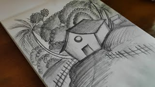 shading pencil scenery drawing easy landscape village