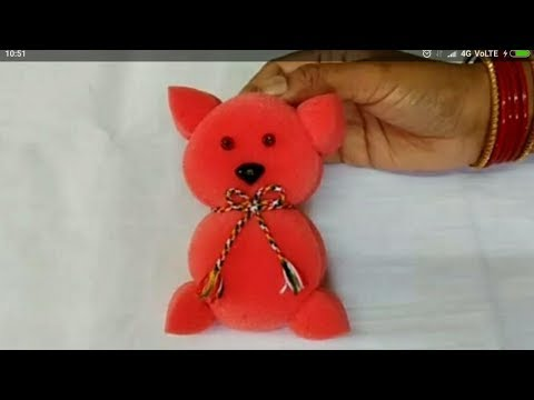 2 minutes easy sponge teddy bear making // how to make soft toy teddy bear making