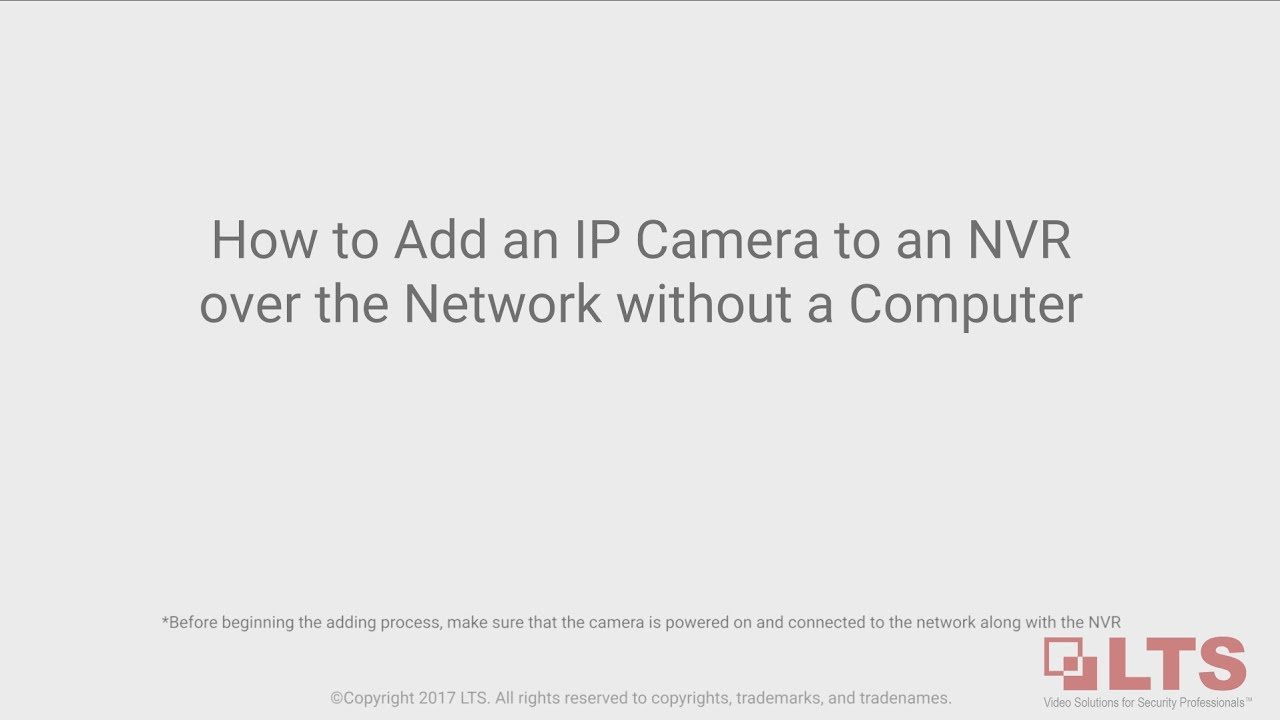 Adding An Ip Camera To Nvr Over The Network Without A Computer Wiring Diagram Switch