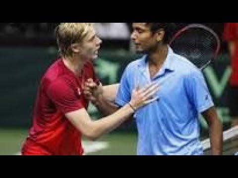 Shapovalov vs Ramanathan 2017 Davis Cup (5-6 in the 2nd set) - Ramanathan not happy