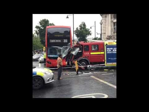 Bus and fire engine crash in london