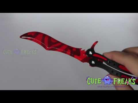 Видео обзор Нож бабочка Убийство - настоящий деревянный нож КС ГО из дерева