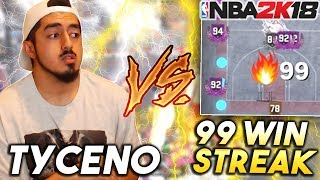 TYCENO vs 99 GAME WIN STREAK! UNBELIEVABLE GAME OF THE YEAR in NBA2K18 PARK!