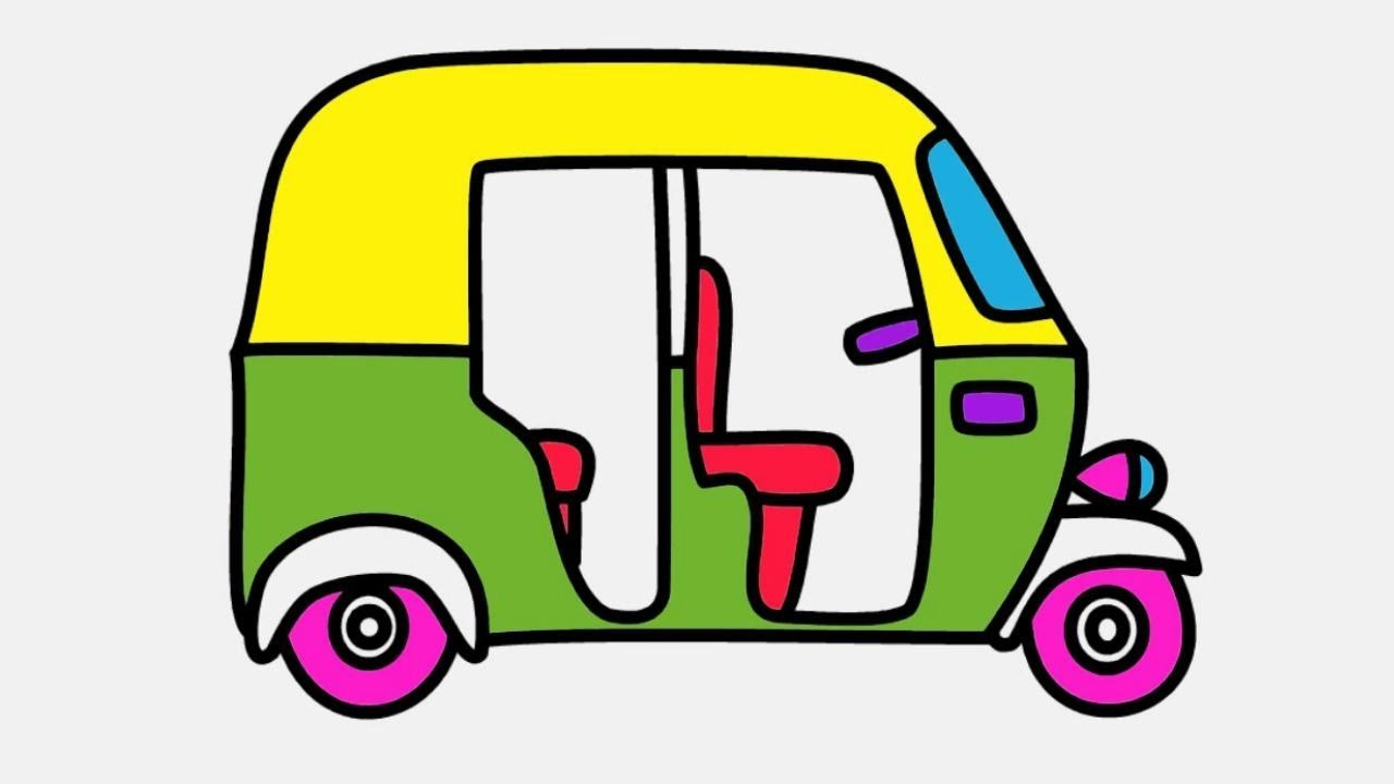 Auto Rickshaw Drawing and Coloring for Kids   Coloring ...