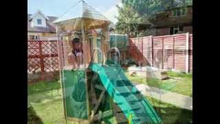 Tp Castlewood Tower Wooden Climbing Frame Installation
