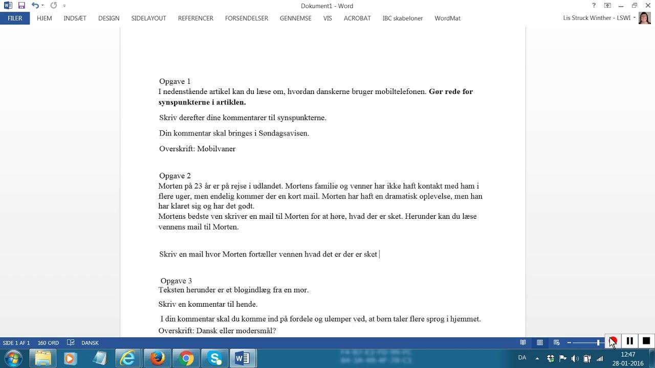 Opgave skriftlig fremstilling maj 2012