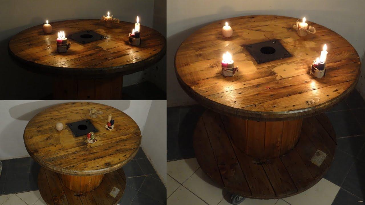 Tavolo Bobina Legno.From Wooden Cable Coil To Table