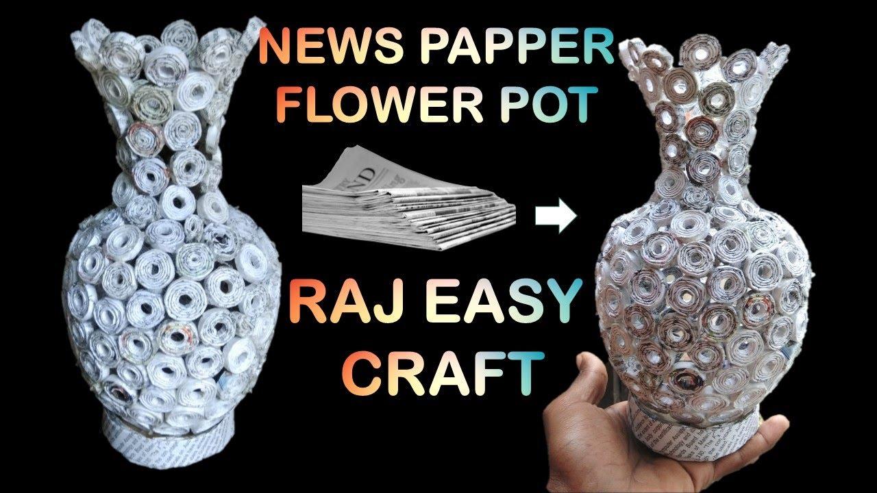 How To Make Newspaper Flower Vase Newspaper Crafts