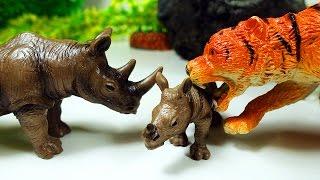 Приключения Животных. Непослушный Носорог убегает от Тигра и Леопарда! Животные для детей Игрушки ТВ