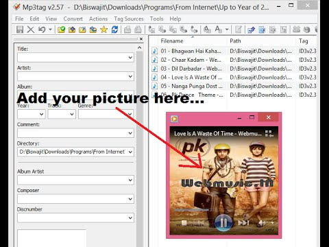 How to add picture in Mp3 song - Add any image in audio files
