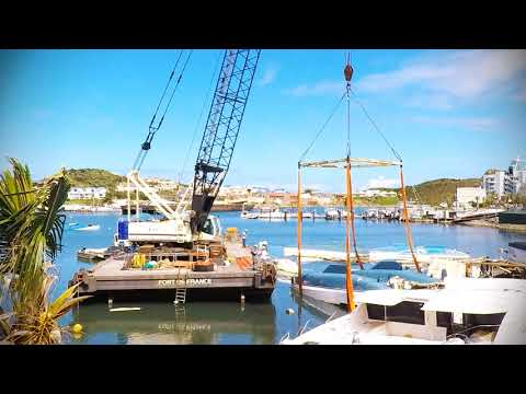 Salvage of boats at Oyster Pond / Sint Maarten after hurricane Irma november 2017