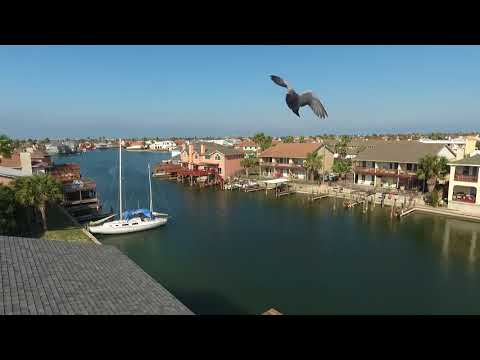 Drone video of Padre Island and the USS Lexington in Corpus Christi, Texas