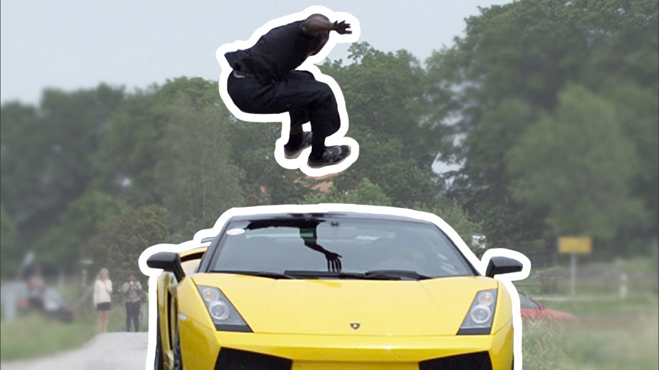 Guy Jumps Over Speeding Lamborghini Kmh Slow Motion YouTube - Cool cars jumping