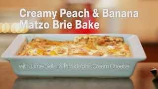 Creamy Peach & Banana Matzo Brie Bake
