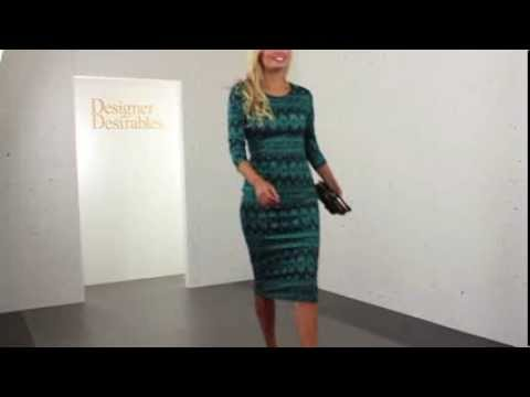 Geometric Print 3/4 Sleeve Green Midi Dress